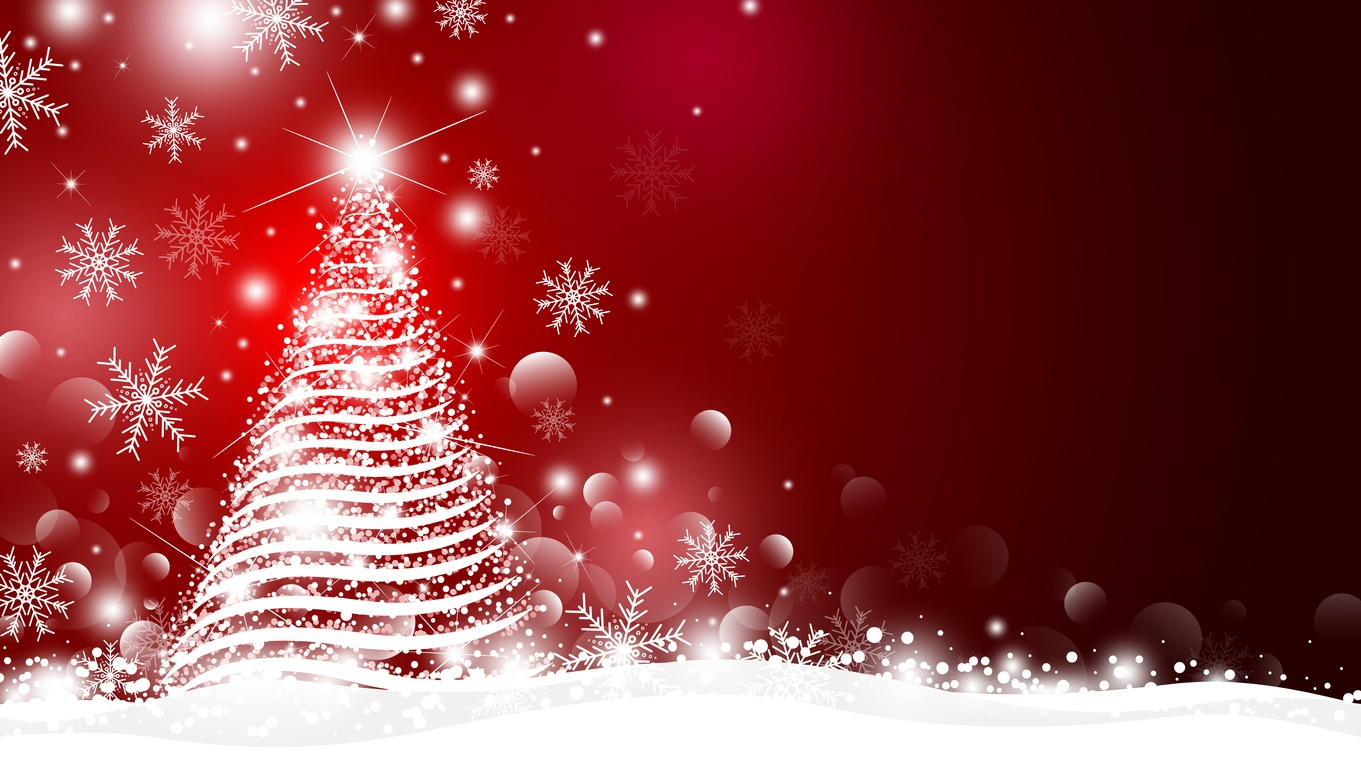 Christmas tree and light with bokeh design on red background vector illustration