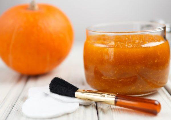 Homemade pumpkin face mask in a glass jar
